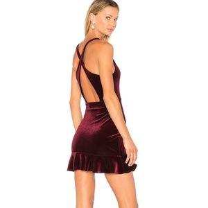 Amanda Uprichard Red Velvet Mini Dress